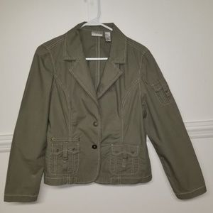 Chico's Size 1 Army Green Utility Jacket